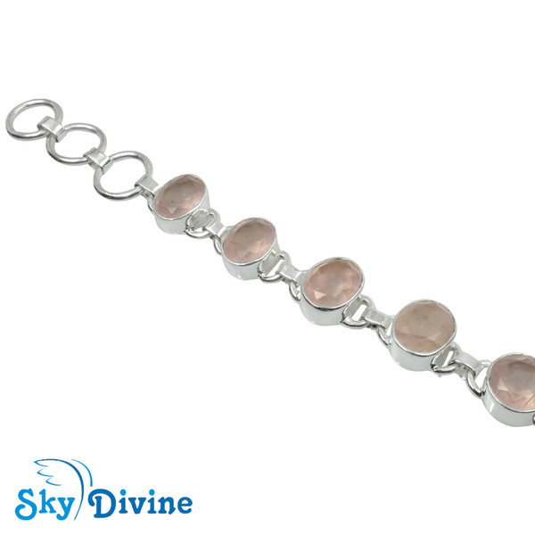 Sterling Silver Rose Quartz Bracelet SDBR2110 SkyDivine Jewelry Image2