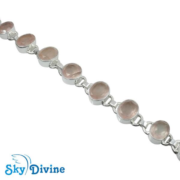 Sterling Silver Rose Quartz Bracelet SDBR2110 SkyDivine Jewelry Image3