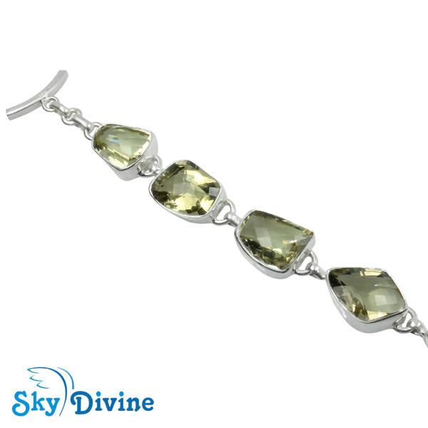 925 Sterling Silver Green Amethyst Bracelet SDBR2113 SkyDivine Jewelry Image2