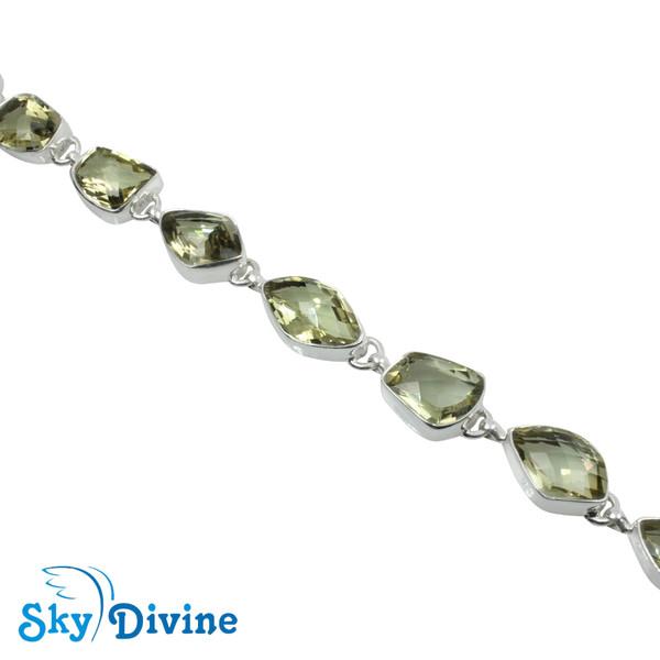 925 Sterling Silver Green Amethyst Bracelet SDBR2113 SkyDivine Jewelry Image3