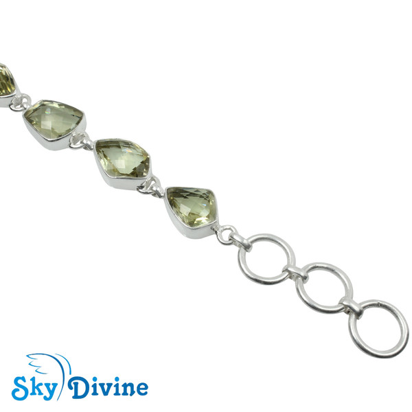925 Sterling Silver Green Amethyst Bracelet SDBR2113 SkyDivine Jewelry Image4