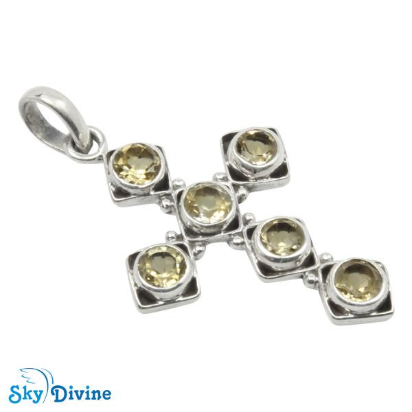 925 Sterling Silver Citrine Pendant SDAPN16 SkyDivine Jewellery