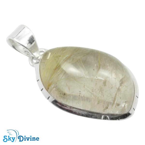 Sterling Silver Golden Rutile Pendant SDPN2112 SkyDivine Jewellery
