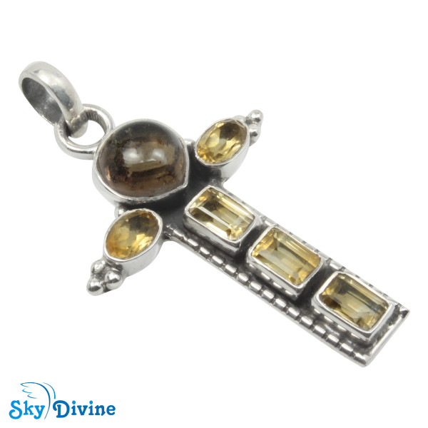 925 Sterling Silver Citrine Pendant SDAPN17b SkyDivine Jewelry