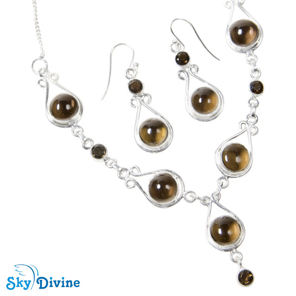 Sterling Silver Smoky Quartz Set SDAST01 SkyDivine Jewelry Image5