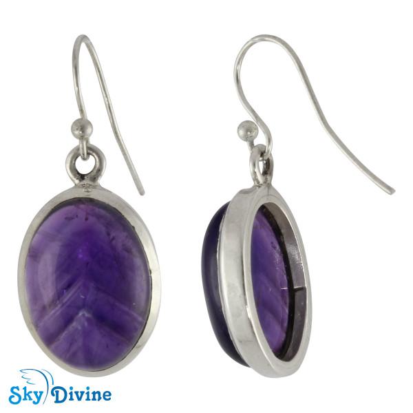 925 Sterling Silver amethyst Earring SDAER10 SkyDivine Jewellery Image2