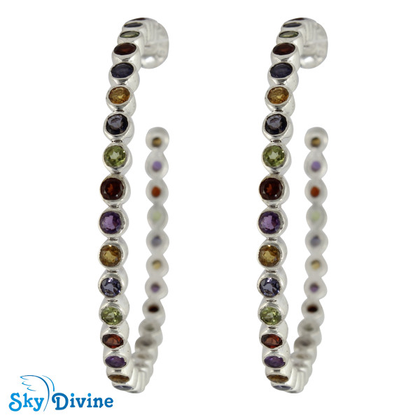 Sterling Silver Multi Stones Earring SDAER22 SkyDivine Jewelry