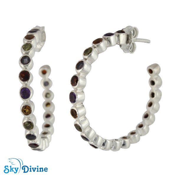 Sterling Silver Multi Stones Earring SDAER26a SkyDivine Jewellery Image2