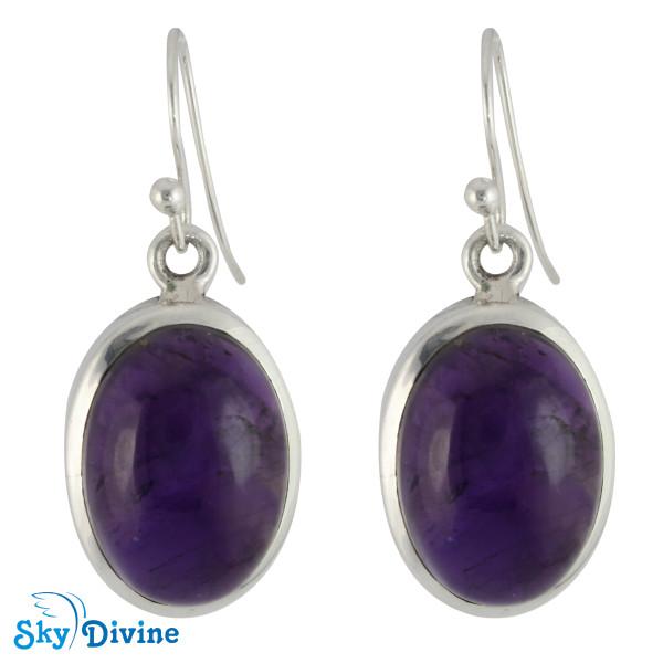 925 Sterling Silver amethyst Earring SDER2101 SkyDivine Jewelry