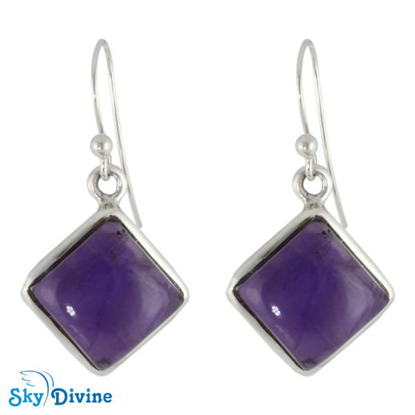 925 Sterling Silver amethyst Earring SDER2105 SkyDivine Jewellery