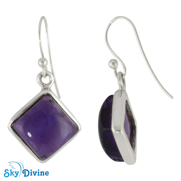 925 Sterling Silver amethyst Earring SDER2105 SkyDivine Jewellery Image2