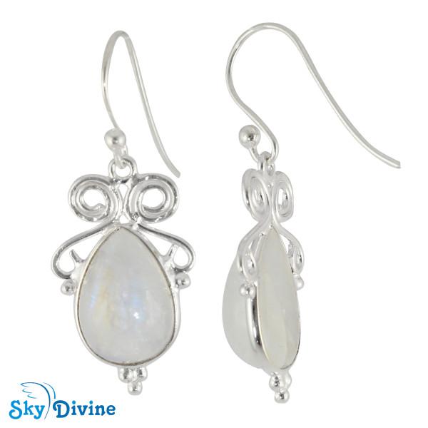 925 Sterling Silver Rainbow moon Stone Earring SDER2116 SkyDivine Jewellery Image2