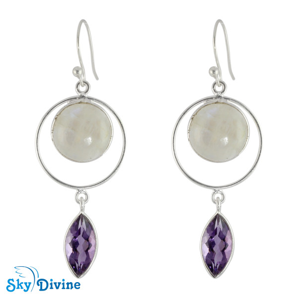 925 Sterling Silver moon stone Earring SDER2121 SkyDivine Jewelry