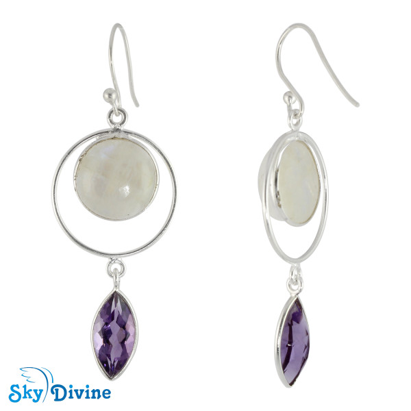 925 Sterling Silver moon stone Earring SDER2121 SkyDivine Jewelry Image2