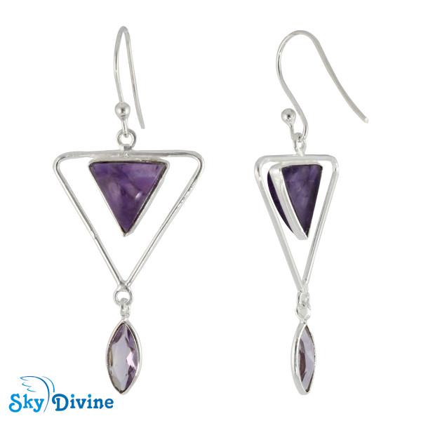 925 Sterling Silver amethyst Earring SDER2124 SkyDivine Jewellery Image2