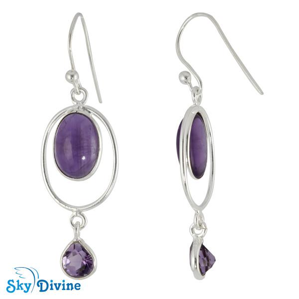 Sterling Silver amethyst Earring SDER2125 SkyDivine Jewelry Image2