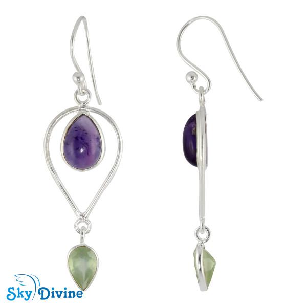 925 Sterling Silver amethyst Earring SDER2130 SkyDivine Jewellery Image2