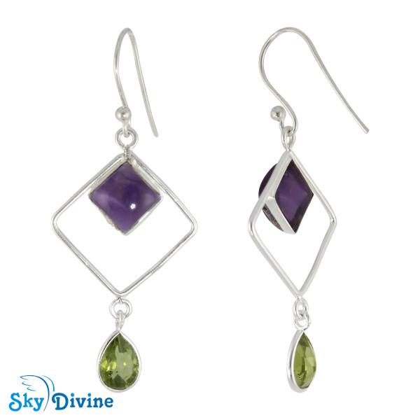 Sterling Silver amethyst Earring SDER2133 SkyDivine Jewellery Image2