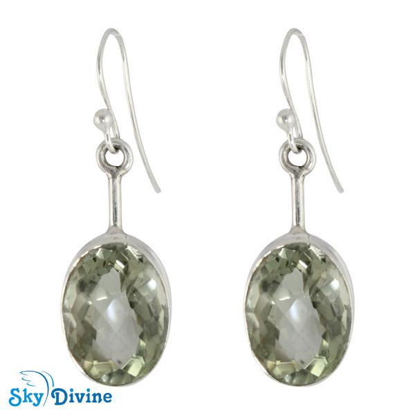 925 Sterling Silver Green Amethyst Earring SDER2137 SkyDivine Jewellery