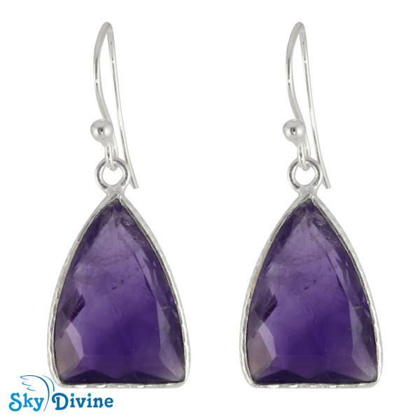 925 Sterling Silver amethyst Earring SDER2142 SkyDivine Jewellery