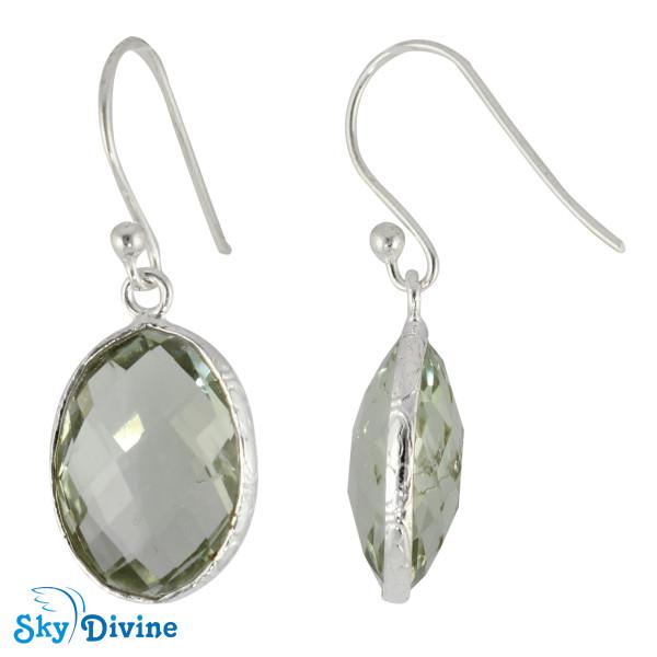 925 Sterling Silver Green Amethyst Earring SDER2151 SkyDivine Jewelry Image2