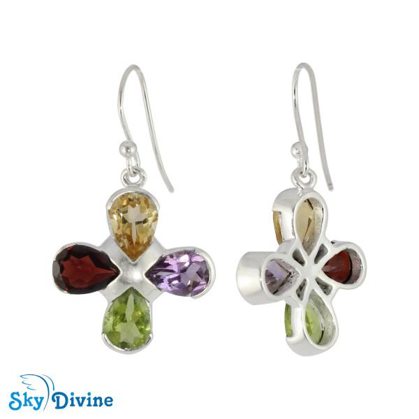 925 Sterling Silver Multi Stones Earring SDER2167 SkyDivine Jewellery Image2