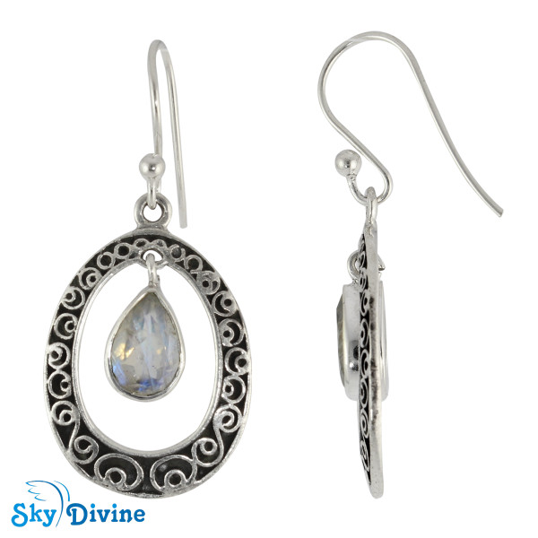 Sterling Silver Rainbow moon Stone Earring SDER2168 SkyDivine Jewelry Image2