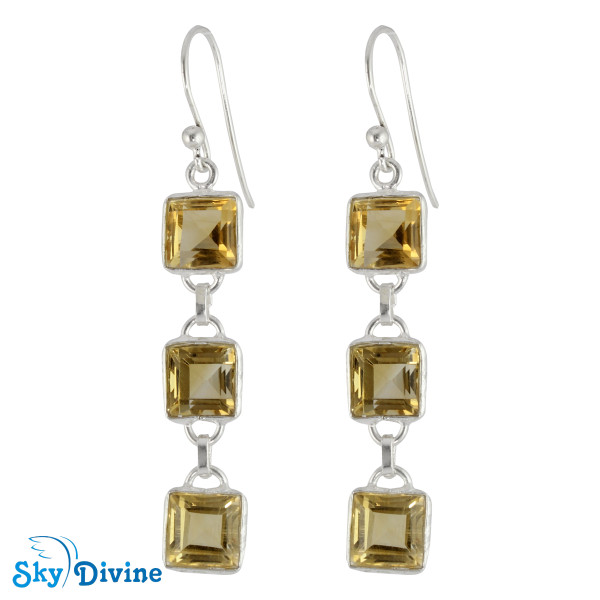 925 Sterling Silver Citrine Earring SDER2181 SkyDivine Jewellery
