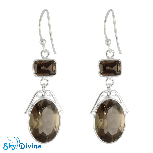 Sterling Silver Smoky Quartz Earring SDER2182 SkyDivine Jewelry