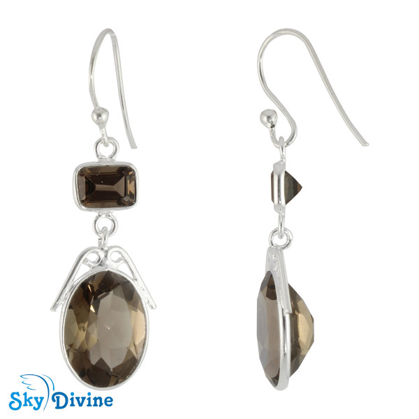 Sterling Silver Smoky Quartz Earring SDER2182 SkyDivine Jewelry Image2
