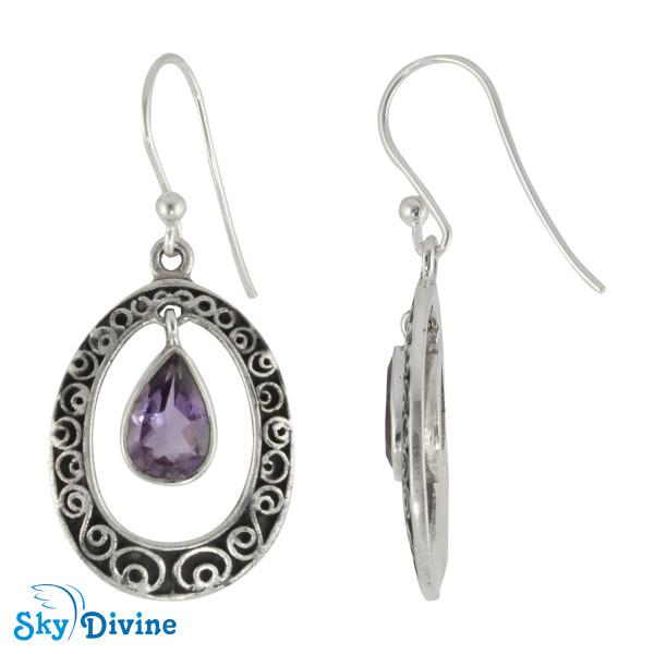 Sterling Silver amethyst Earring SDER2186 SkyDivine Jewellery Image2
