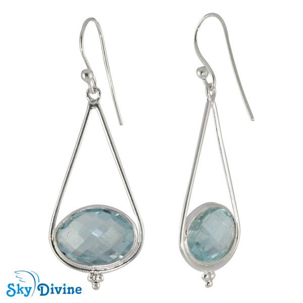 925 Sterling Silver blue topaz Earring SDER2187 SkyDivine Jewellery Image2