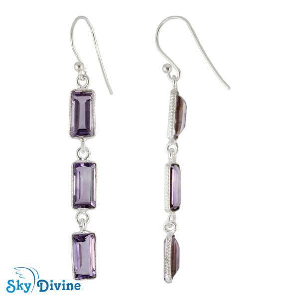 925 Sterling Silver amethyst Earring SDER2189 SkyDivine Jewellery Image2