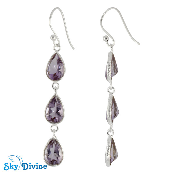 925 Sterling Silver amethyst Earring SDER2191 SkyDivine Jewelry Image2