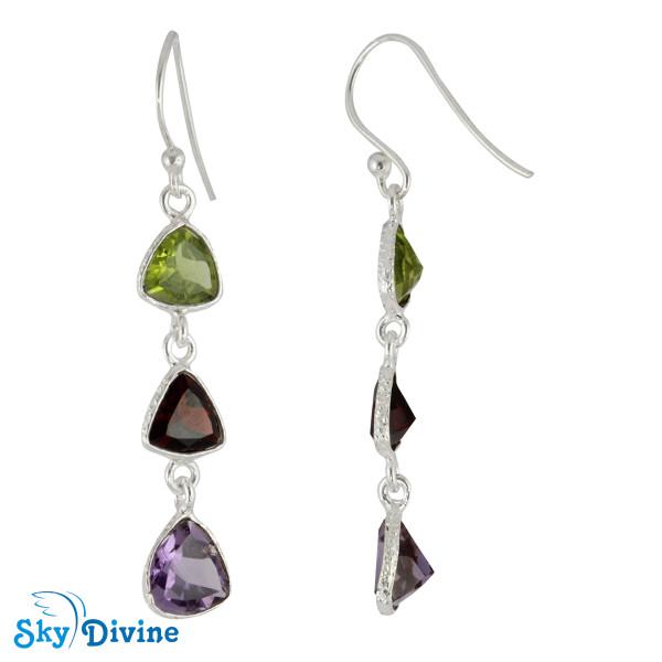Sterling Silver Multi Stones Earring SDER2192 SkyDivine Jewellery Image2