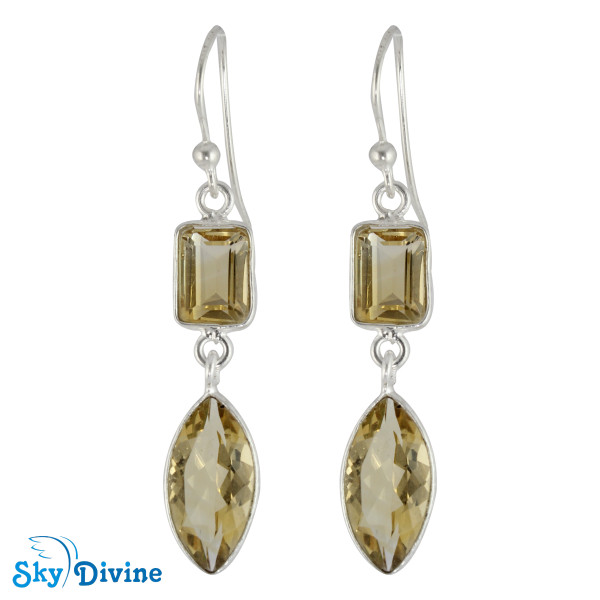 925 Sterling Silver Citrine Earring SDER2193 SkyDivine Jewellery