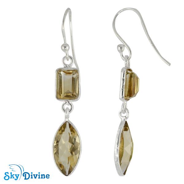 925 Sterling Silver Citrine Earring SDER2193 SkyDivine Jewellery Image2