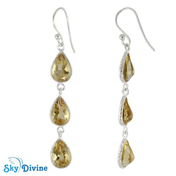 925 Sterling Silver Citrine Earring SDER2195 SkyDivine Jewellery Image2