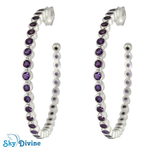 925 Sterling Silver amethyst Earring SDAER22b SkyDivine Jewellery
