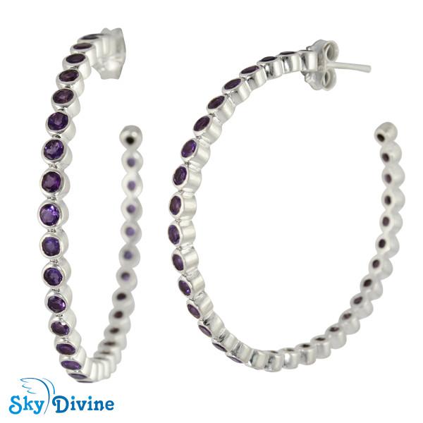925 Sterling Silver amethyst Earring SDAER22b SkyDivine Jewellery Image2