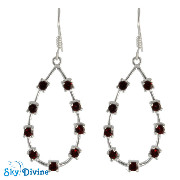 925 Sterling Silver Garnet Earring SDAER24a SkyDivine Jewellery
