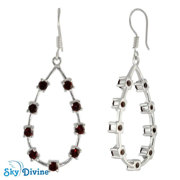 925 Sterling Silver Garnet Earring SDAER24a SkyDivine Jewellery Image2