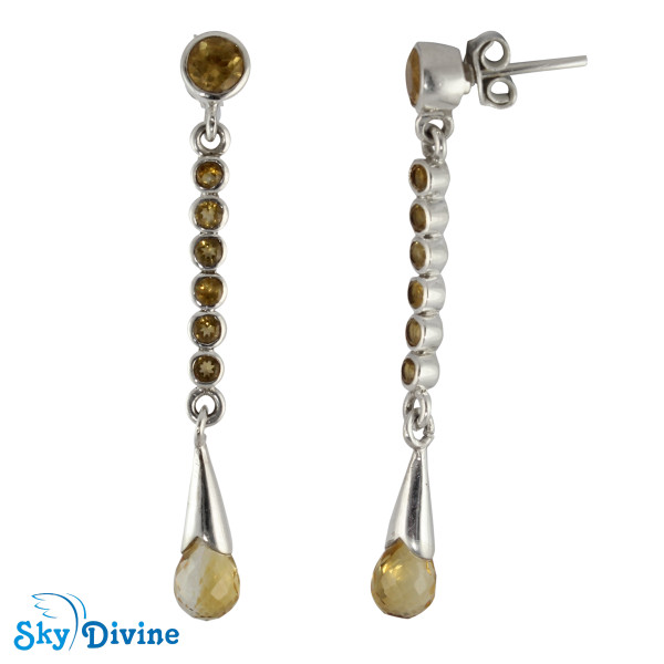 Sterling Silver Citrine Earring SDAER18a SkyDivine Jewellery Image2