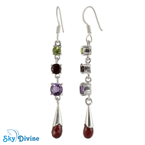 925 Sterling Silver Multi Stones Earring SDAER23a SkyDivine Jewelry Image2