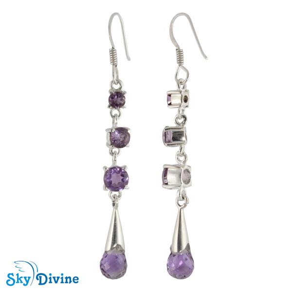 925 Sterling Silver amethyst Earring SDAER23c SkyDivine Jewellery Image2