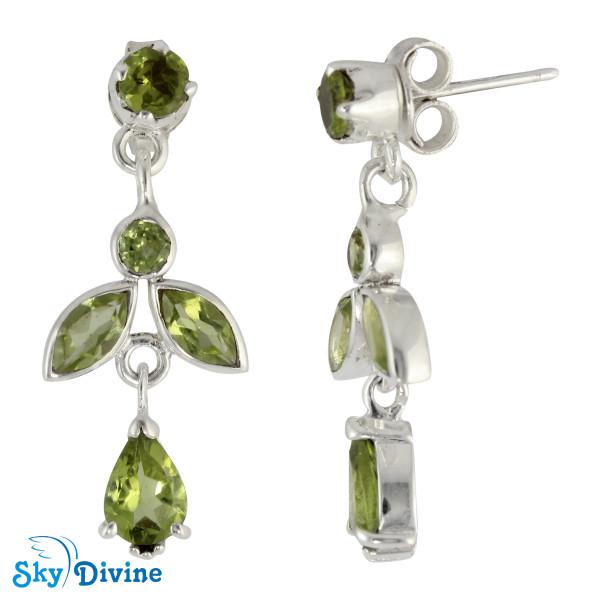925 Sterling Silver peridot Earring SDAER19c SkyDivine Jewelry Image2