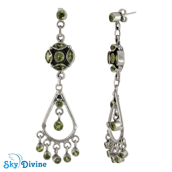 Sterling Silver peridot Earring SDAER25a SkyDivine Jewellery Image2