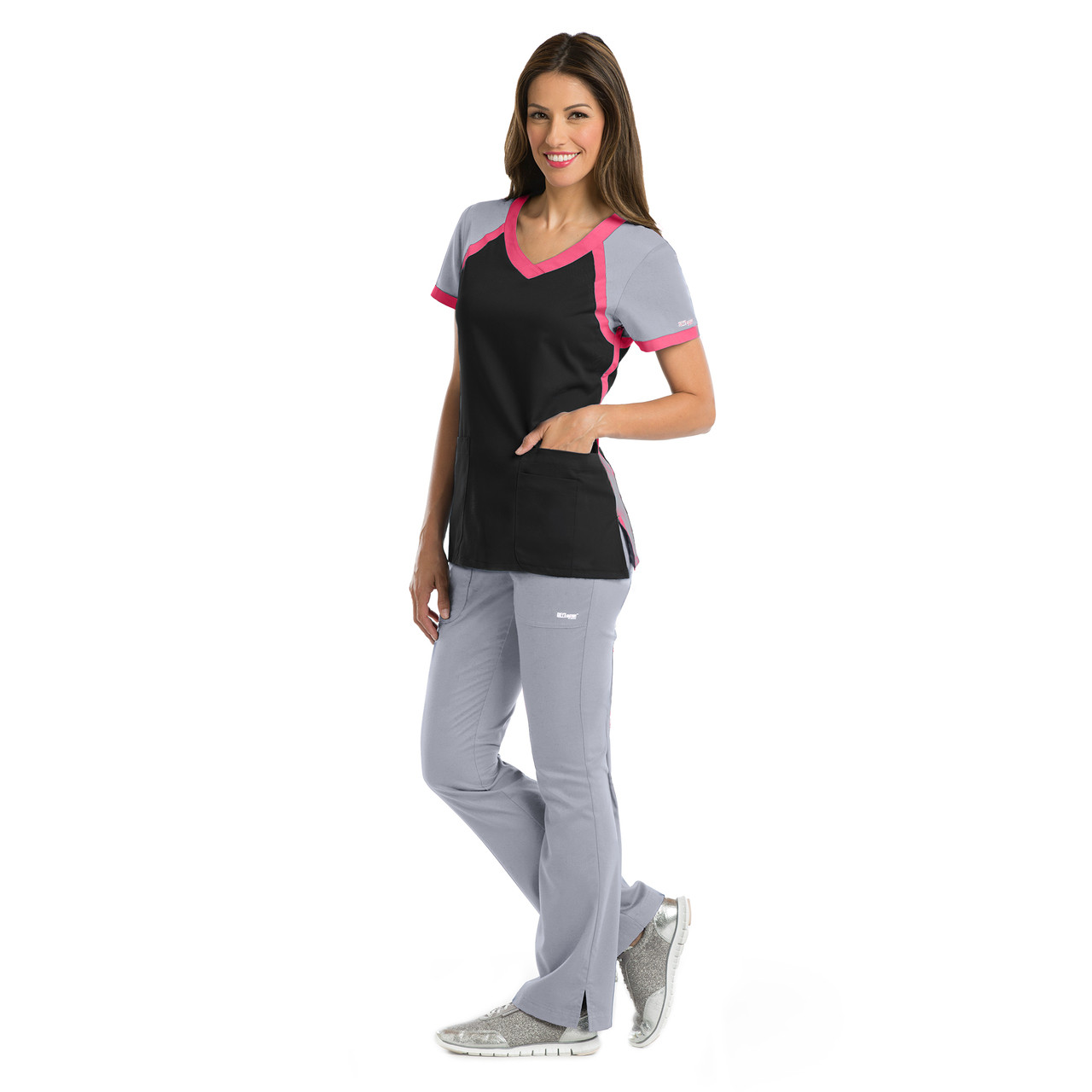 bb07cae2566 41435) - Grey's Anatomy Active 3 Pocket Color Block V-neck Scrub Top ...
