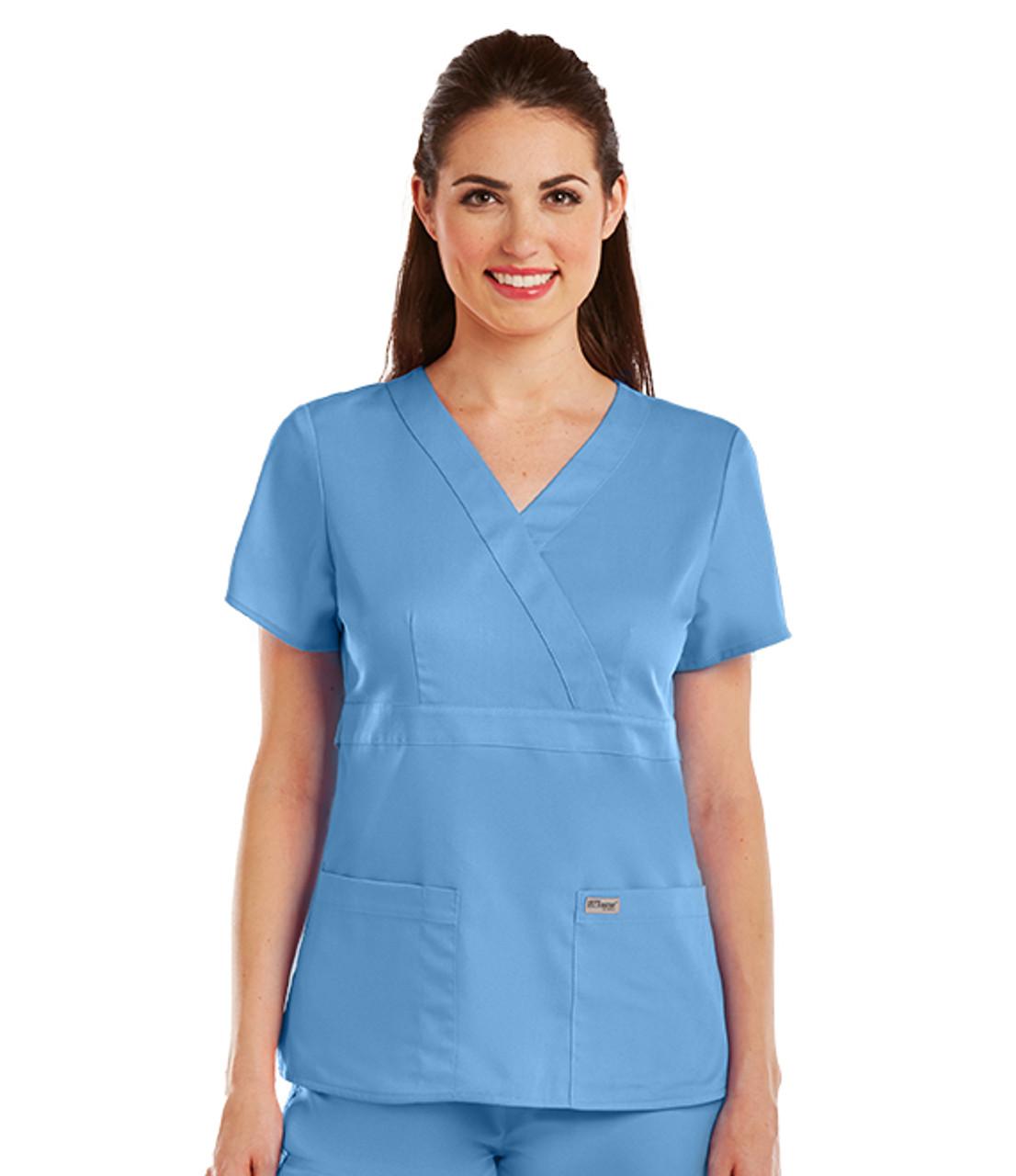 (4153) - Grey's Anatomy Scrubs - 3 Pocket Mock Wrap Scrub Top