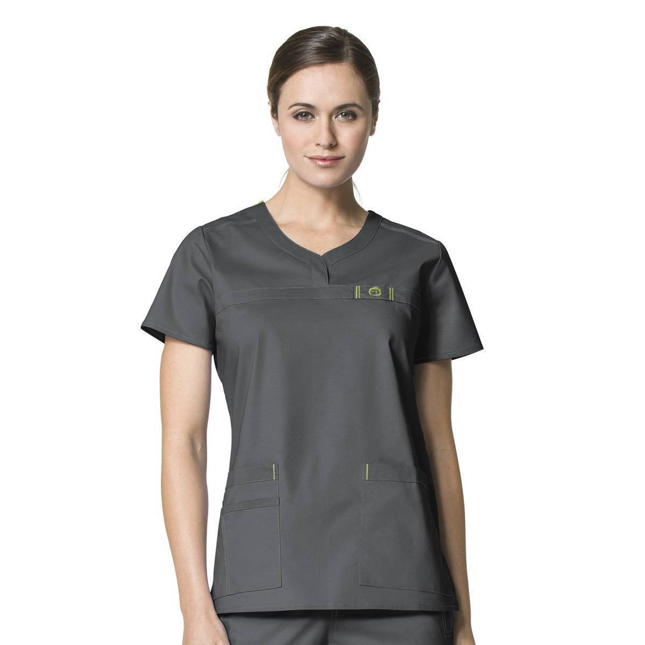 (6208) WonderFLEX Scrubs - Patience Curved Notch Neck Top